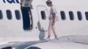 Se agobia y sale a dar un paseo por el ala del avión